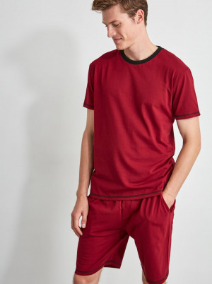 Trendyol vínové pánské pyžamo