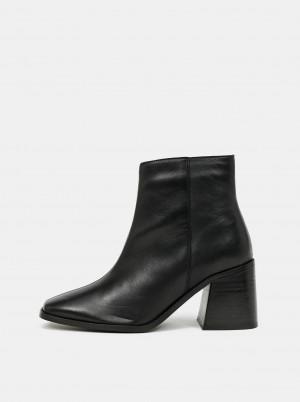 Dorothy Perkins černé kožené kotníkové boty -