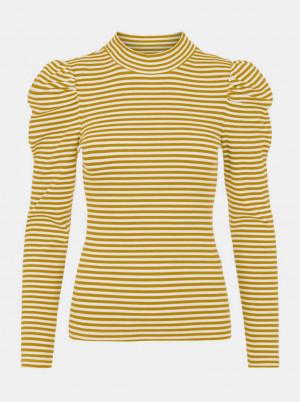 Pieces žluté pruhované tričko se stojáčkem