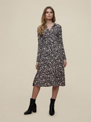 Dorothy Perkins černé košilové šaty se vzory