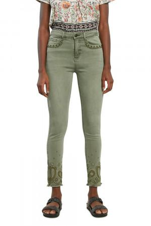 Desigual khaki kalhoty Pant Ankle Paisley -