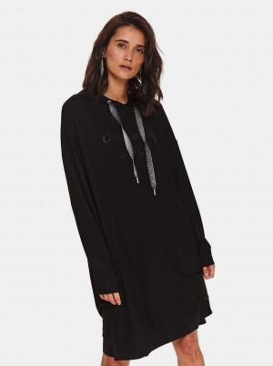 TOP SECRET černé mikinové šaty