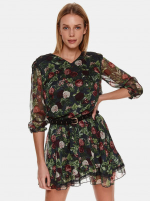 TOP SECRET zelené květované šaty