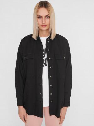 Noisy May černá denimová dámská košile Flanny