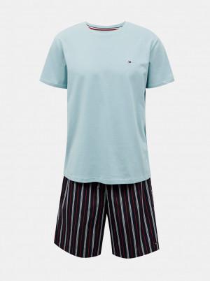 Tommy Hilfiger modré pánské pyžamo CN SS Short Woven