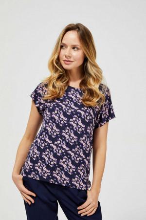 Moodo modré tričko s květinovým motivem -