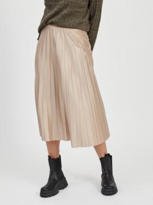 Vila béžová plisovaná midi sukně