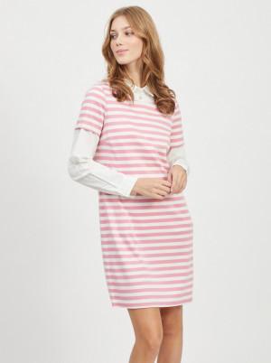 Vila růžovo-bílé pruhované šaty