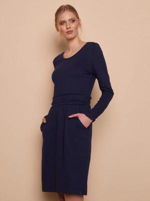 Tranquillo modré šaty s dlouhým rukávem