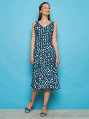 Tranquillo modré midi šaty se vzory