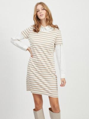 Vila béžovo-bílé pruhované šaty