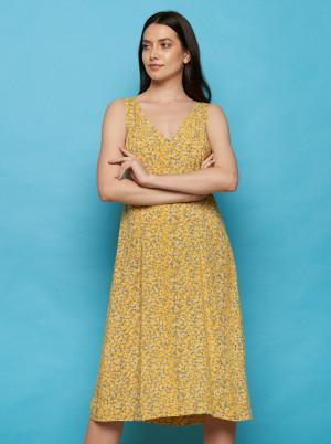Tranquillo žluté květované midi šaty