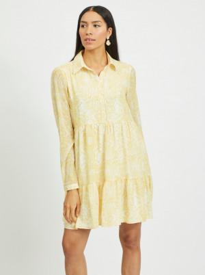 Vila žluté košilové šaty Plissea se vzory