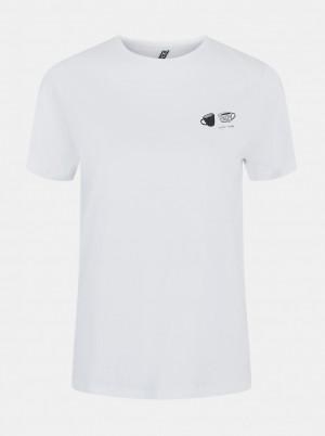 Pieces bílé dámské tričko Liwy s potiskem