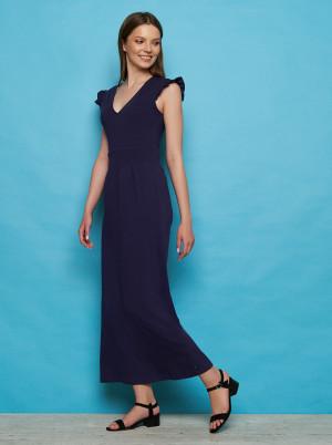 Tranquillo modré maxi šaty s volánovými rukávy Fiefie