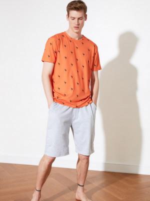 Trendyol oranžovo-šedé pánské pyžamo