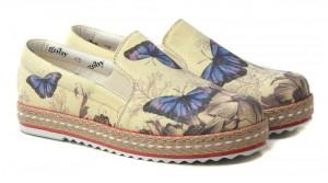 Goby béžové slip on Butterfly Blue -