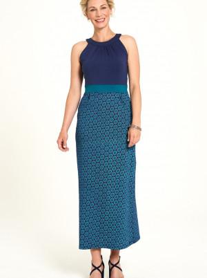 Tranquillo modré maxi šaty se vzory