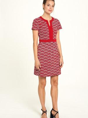 Tranquillo červené šaty se vzory