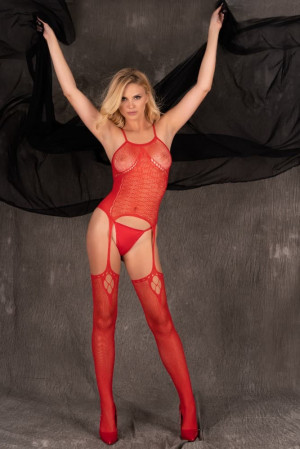 Erotické body - Amrin red -  LivCo Corsetti Červená S/L