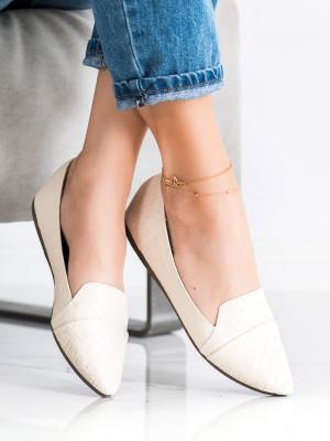 Moderní hnědé  baleríny dámské bez podpatku
