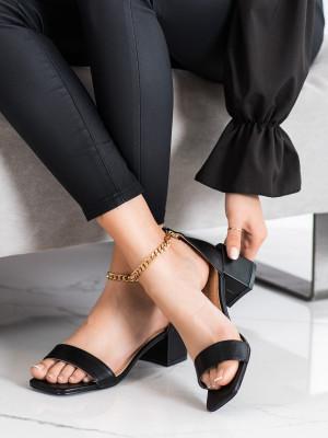 Moderní černé dámské  lodičky na širokém podpatku