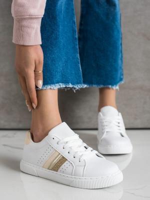 Pěkné bílé dámské  tenisky bez podpatku