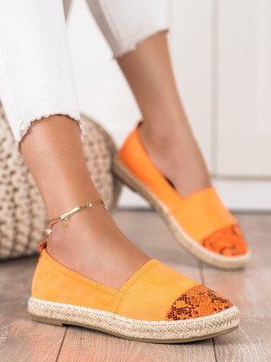 Výborné oranžové  polobotky dámské bez podpatku