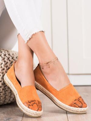 Originální dámské  polobotky oranžové bez podpatku