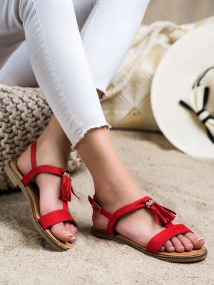 Moderní dámské  sandály červené bez podpatku
