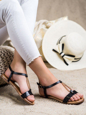 Praktické dámské  sandály černé bez podpatku