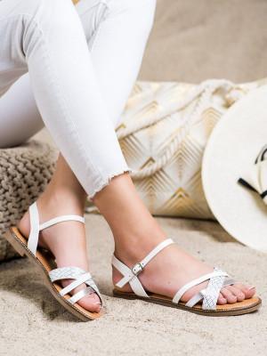 Originální bílé dámské  sandály bez podpatku