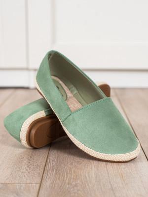 Komfortní zelené  polobotky dámské bez podpatku