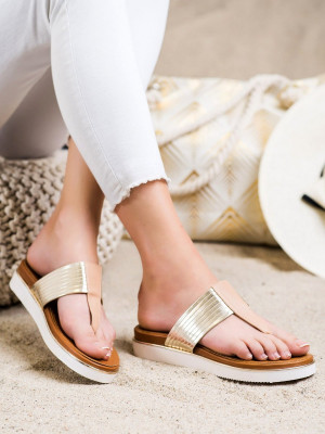 Designové dámské hnědé  nazouváky bez podpatku