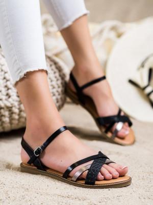 Módní dámské  sandály černé bez podpatku