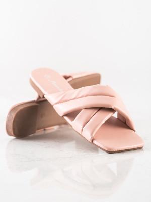Jedinečné dámské  nazouváky růžové na plochém podpatku