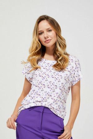 Moodo bílé tričko s květinovým motivem