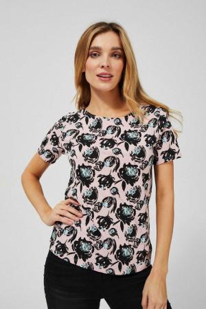 Moodo růžové tričko s květinovým motivem