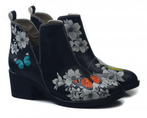 Goby černé kotníkové boty na podpatku Butterflies In The Garden -