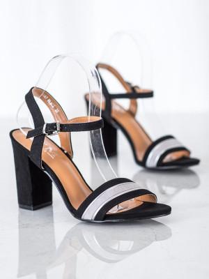 Trendy dámské  sandály černé na širokém podpatku