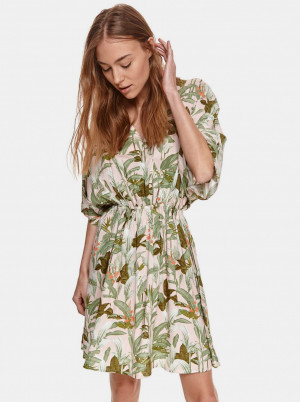 TOP SECRET zeleno-růžové šaty se vzory