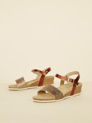 OJJU bronzové kožené sandály -