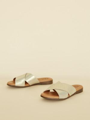 OJJU zlaté kožené pantofle -