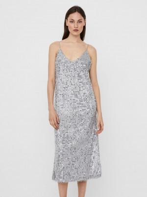 Vero Moda stříbrné midi šaty Kalmia