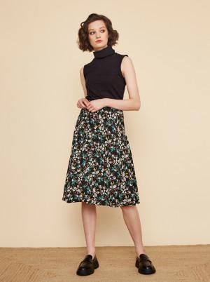 ZOOT černá sukně Valencie s barevnými motivy