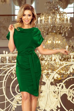 Zelené dámské šaty s asymetrickou spodní částí a páskem model 7573557