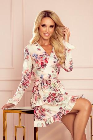 CAROLINE - Dámské šaty s volánky, přeloženým obálkovým výstřihem a s květinovým vzorem na světlém pozadí 297-2