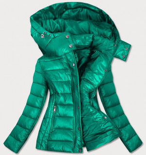 Zelená dámská prošívaná bunda s kapucí, kterou je možné odepnout (7560) Zelený S (36)