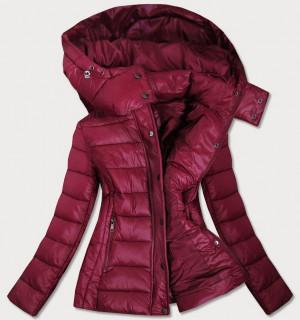 Dámská prošívaná bunda v bordó barvě s kapucí, kterou je možné odepnout (7560) Červené L (40)