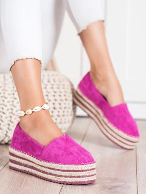 Komfortní růžové  polobotky dámské bez podpatku